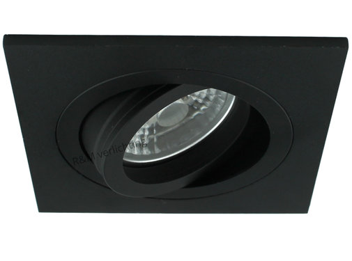 R&M Line LED inbouwspot vierkant zwart 9w IP65 dimbaar