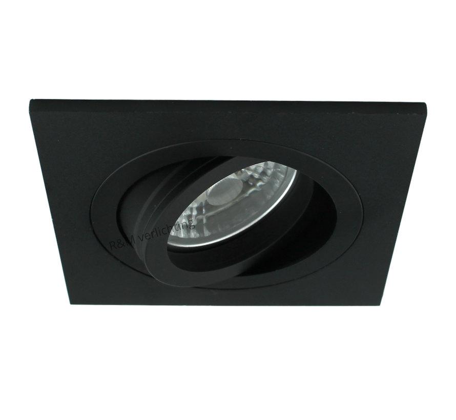 LED inbouwspot Tilt Q zwart 8W 2700k IP65 dimbaar
