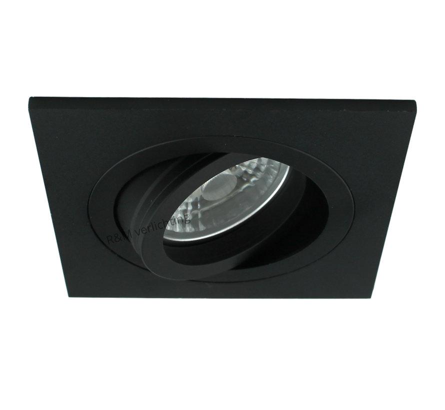 LED inbouwspot Tilt Q zwart 9W 2700k IP65 dimbaar