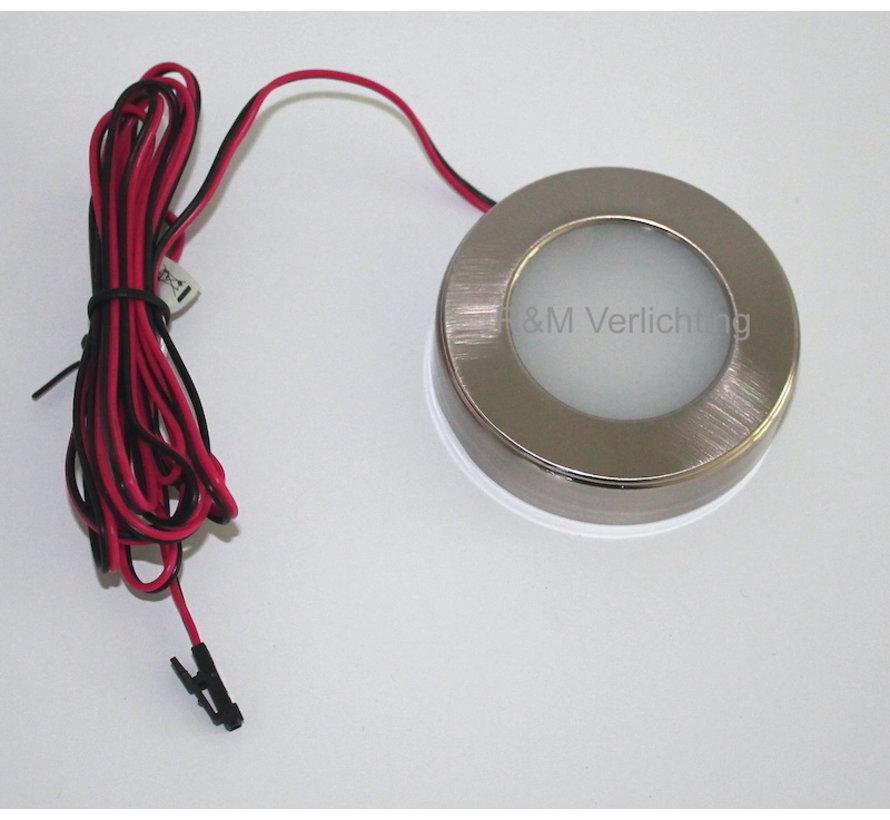 Kastverlichting LED rond opbouwspot 2.6w 12v DC 2700k warm wit
