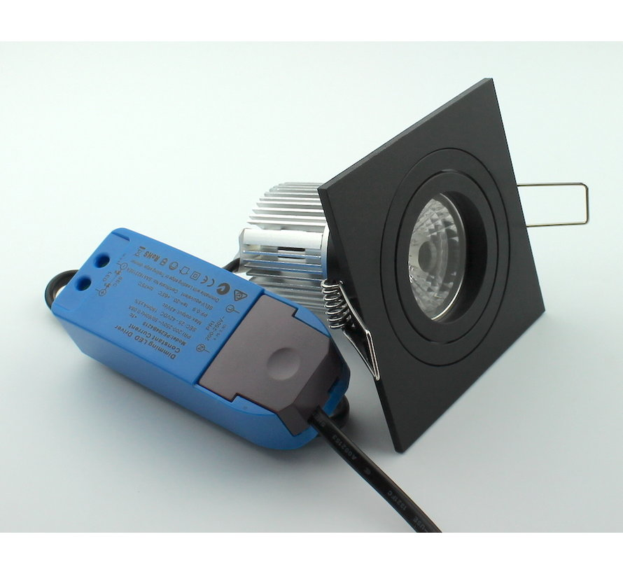 LED square downlight black 9w IP65 2700k dimmable