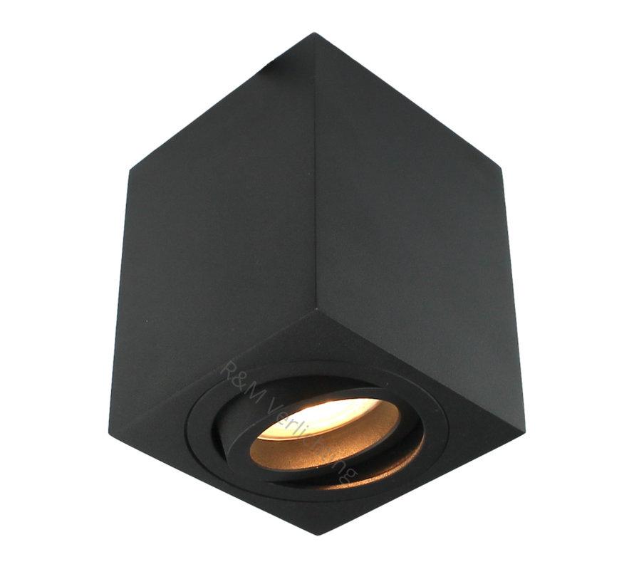 Opbouwspot vierkant Rebel GU10 zwart