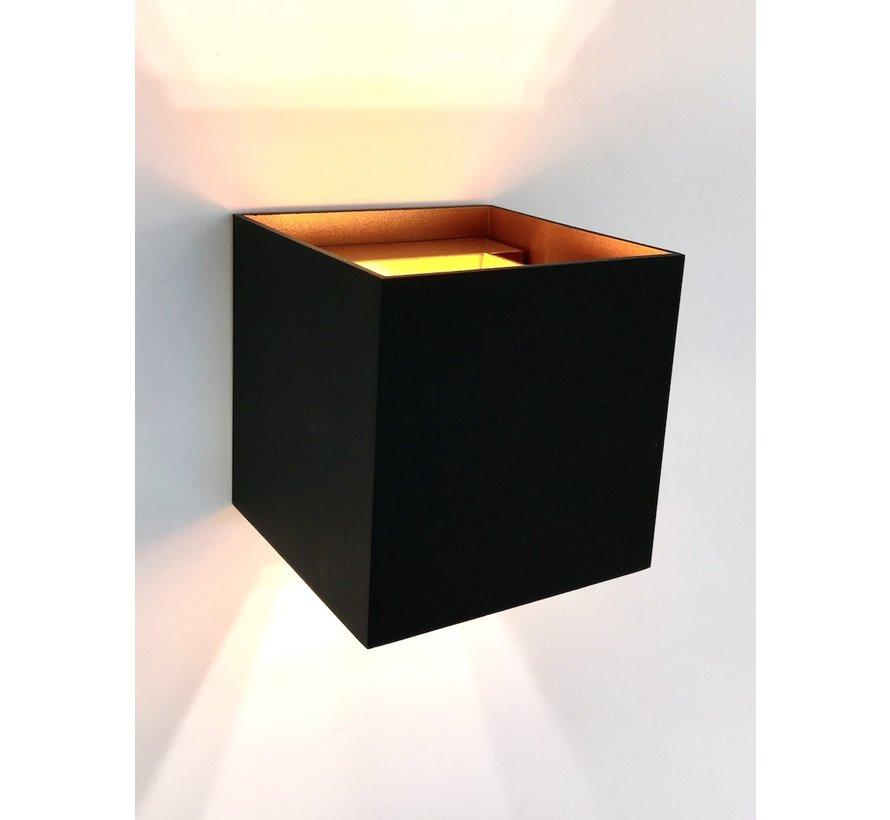 Wandlamp Square zwart en goud G9 230v