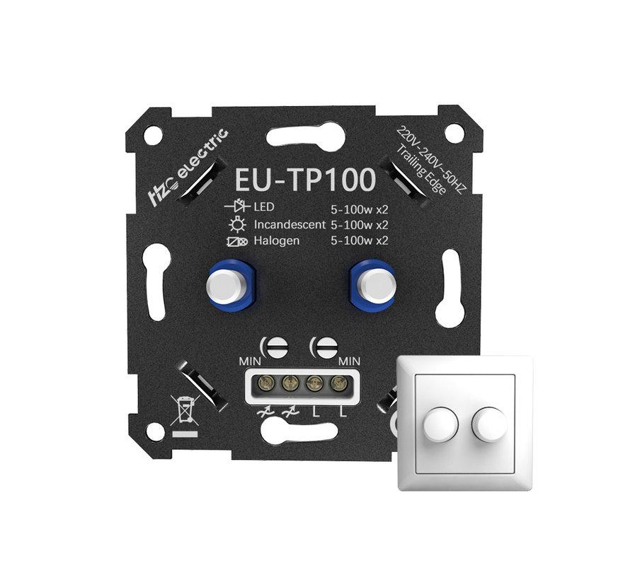 LED duo dimmer 5 - 100W inbouw inclusief afdekraam en knop