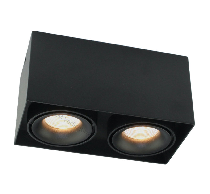 Opbouwspot Caja LED 2x9w 2700K black