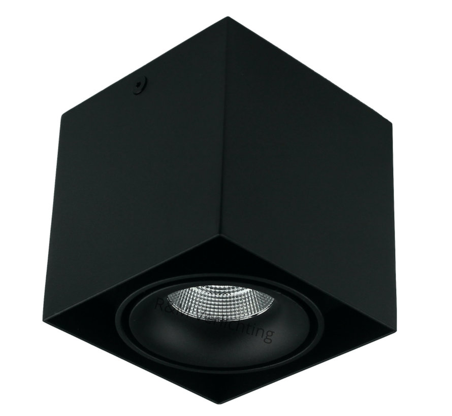 LED opbouw armatuur zwart 1x9w 2700K Dimbaar