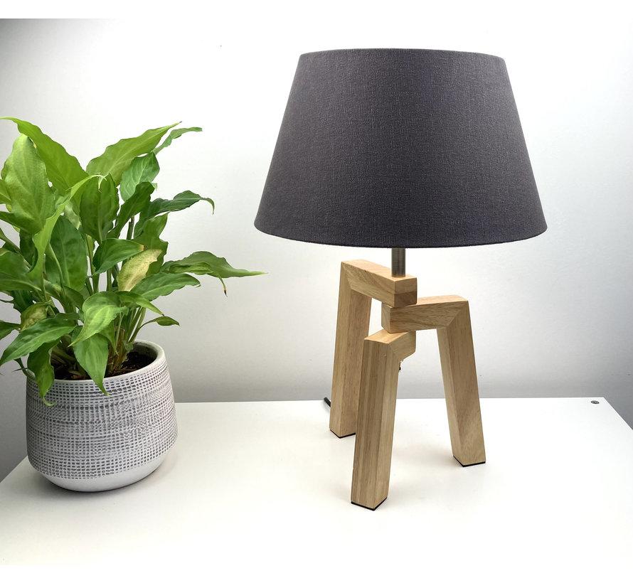 Tafellamp Trios hout met kap antraciet