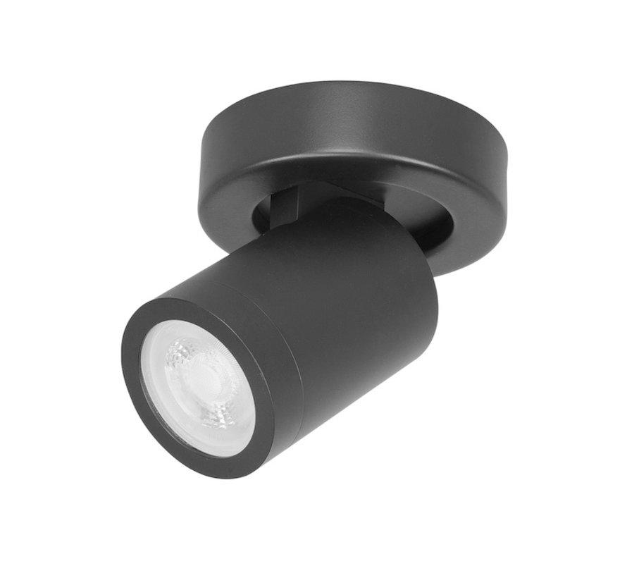 Badkamer spot Oliver zwart IP44 GU10 LED