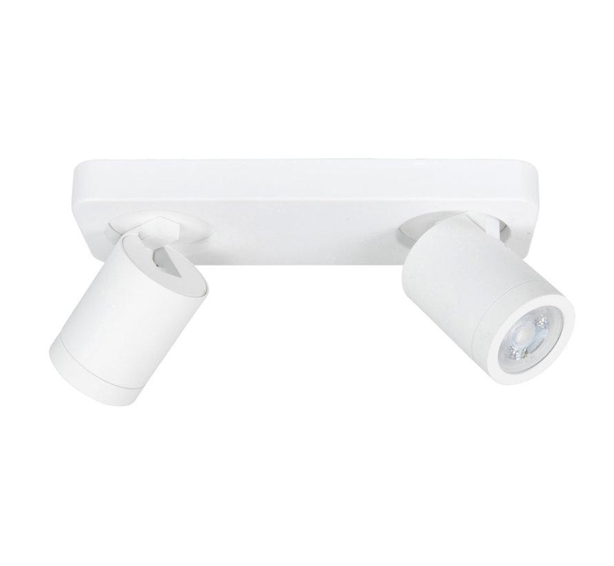 Opbouwspot Oliver wit 2-lichts balk IP44 GU10 LED