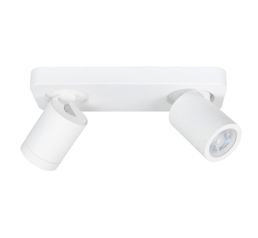 Opbouwspot Olivier wit 2-lichts balk IP44 GU10 LED