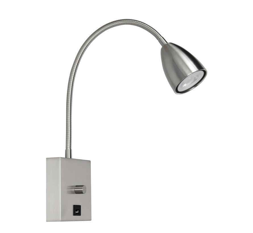 Wandlamp  MALMÖ RVS  GU10 LED met dimmer en USB lader