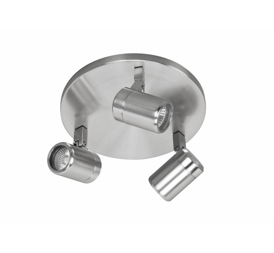 Badkamer opbouwspot RAIN 3-lichts geborsteld-staal GU10 IP44