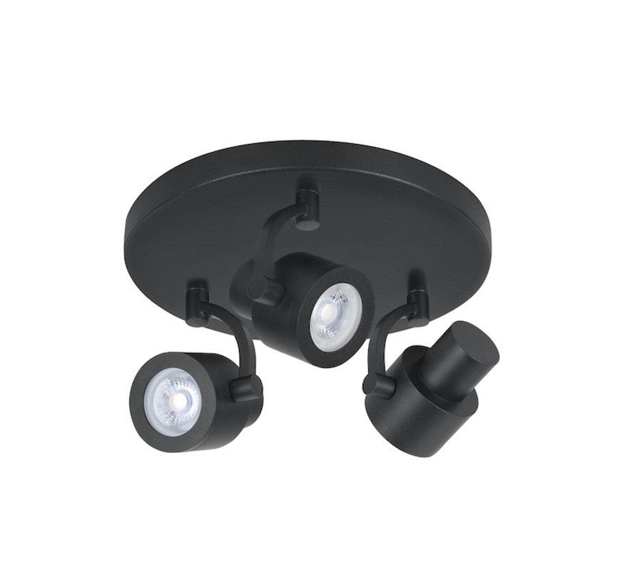 Surface-mounted spotlight Alto 3-light round black GU10