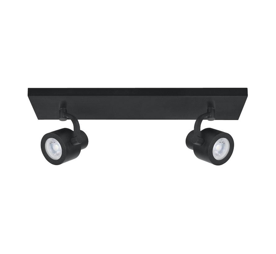 Surface-mounted spot Alto 2-light bar black GU10