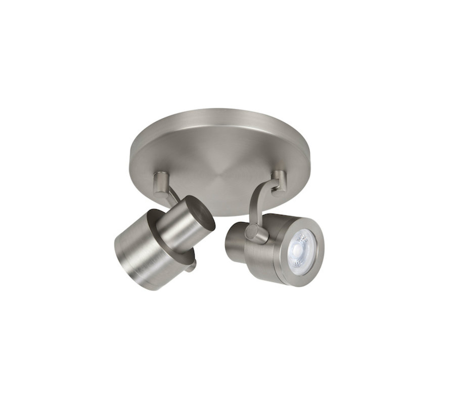 Surface-mounted spotlight Alto 2-lights brushed-steel GU10