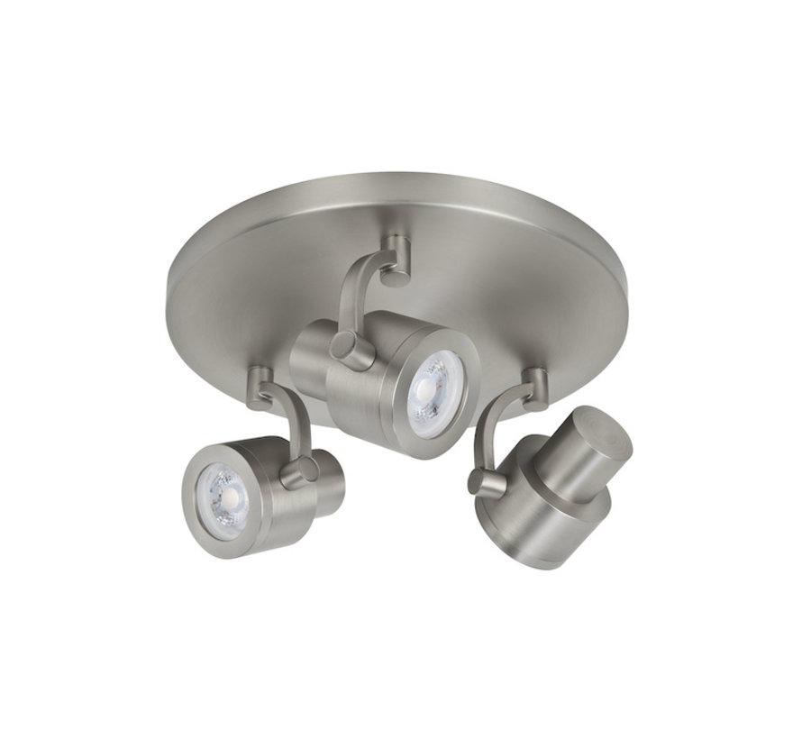 Surface-mounted spotlight Alto 3-lights round brushed-steel GU10