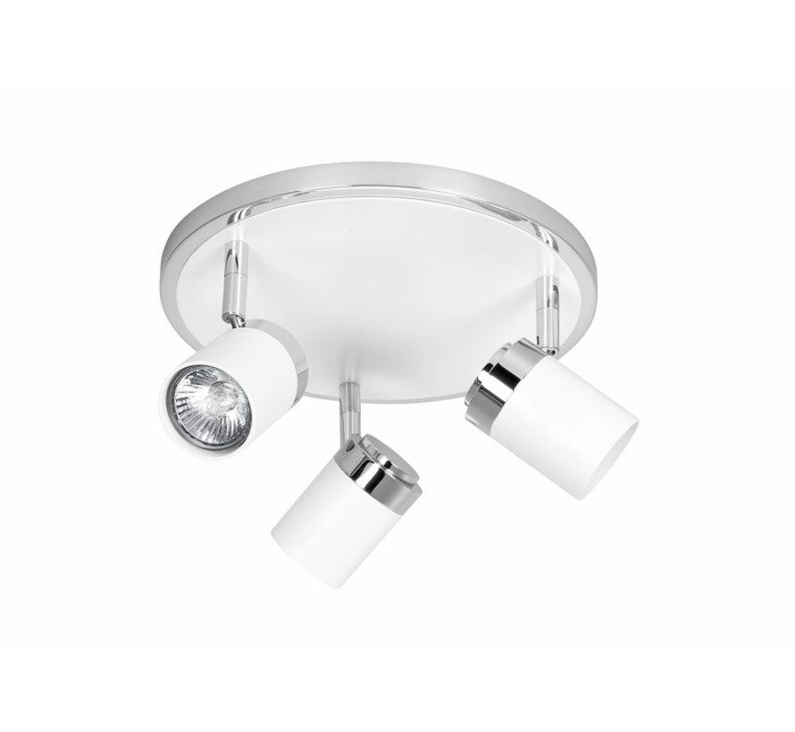 Opbouwspot Athena rond 3-lichts GU10 wit