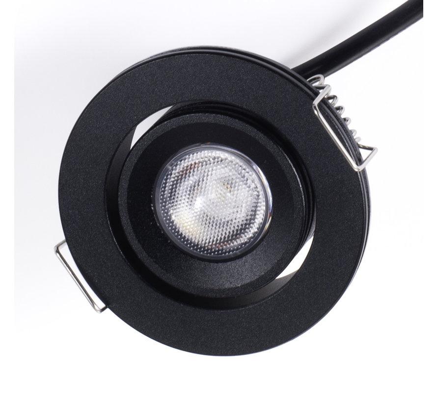 Inbouwspot IP65 Cyprus LED 3watt 2700K 220Lm dimbaar zwart