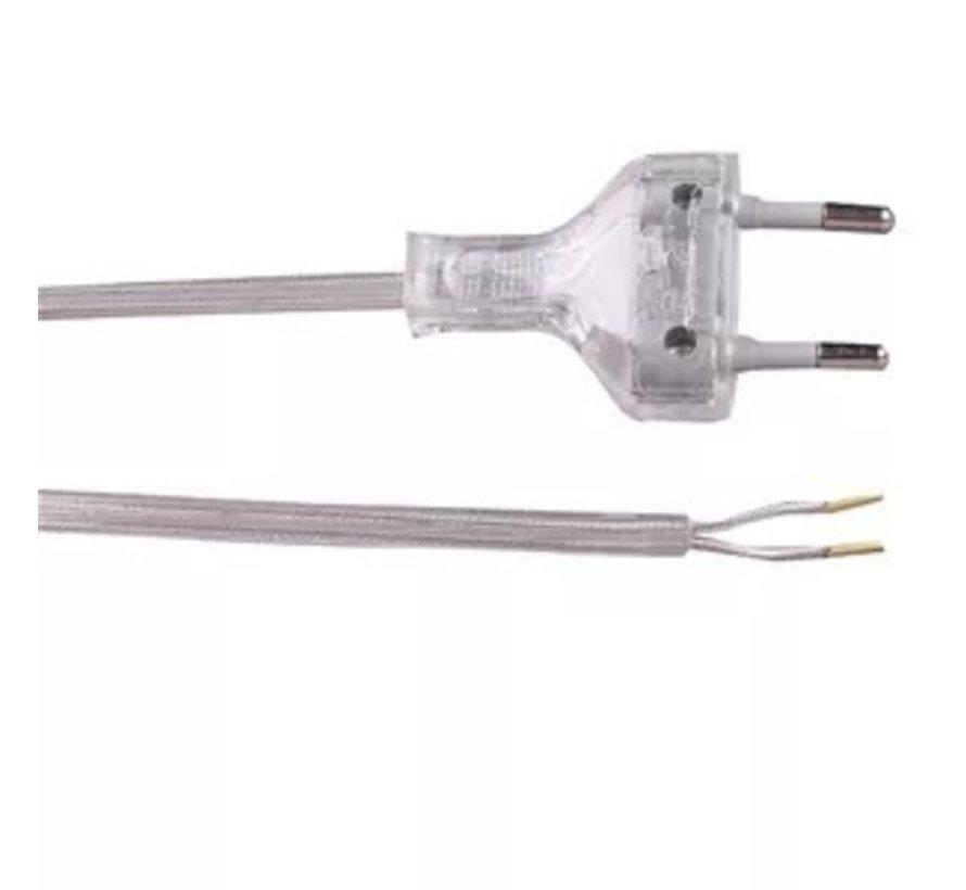 Connection cable 2M 2x0.75mm tansparent + euro plug