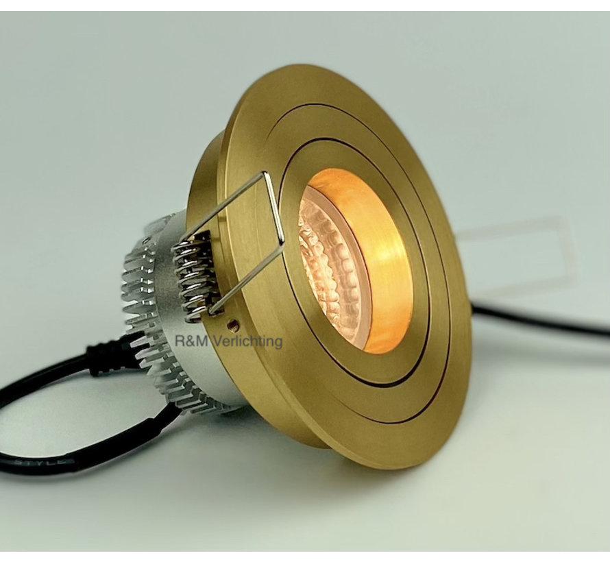 LED downlight TILT-R gold IP65 6W 3000-1800 Kelvin dim-to-warm