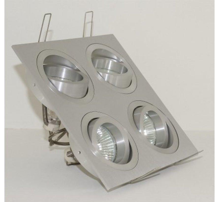 Aluminium inbouwspot 4 lichts Tilt Blade 4X50 12v/230v
