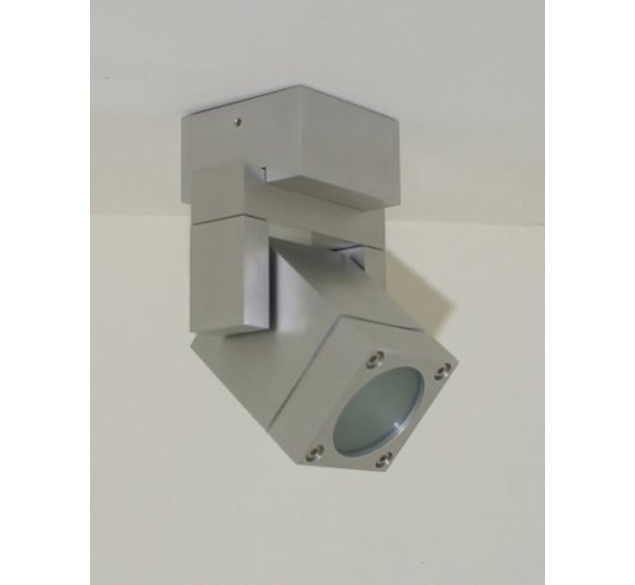 Vierkant LED opbouwspot IP54 230v GU10 5w warm-wit dimbaar