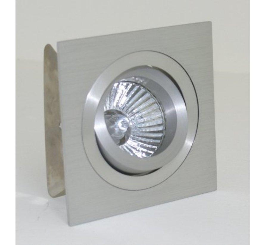 Vierkante aluminium inbouwspot GU10 230v kantelbaar