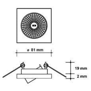 Basic Vierkante inbouwspot kantelbaar 50mm RVS look