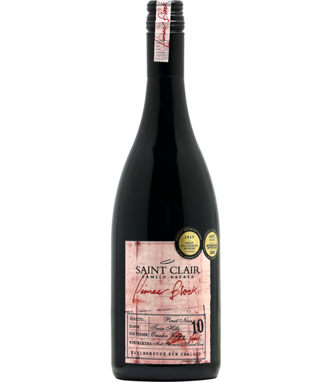 Saint Clair Pioneer Block 10 - pinot noir - Marlborough 2018