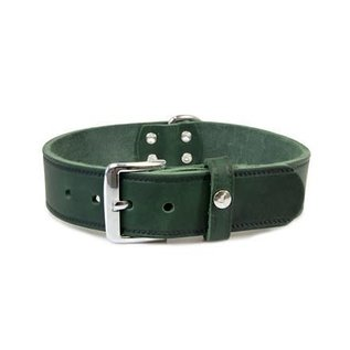 Das Lederband Leren halsband Weinheim 35mm Jachtgroen 57cm verstelbaar 47-53cm