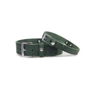 Das Lederband Leren halsband Weinheim 30mm Jachtgroen 52cm verstelbaar 42-48cm
