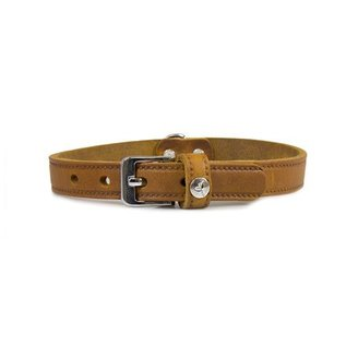 Das Lederband Leren halsband Weinheim 18mm Kastanje 47cm verstelbaar 37-42cm