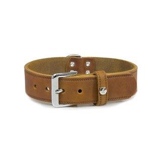 Das Lederband Leren halsband Weinheim 25mm Kastanje 47cm verstelbaar 37-42cm