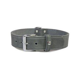 Das Lederband Leren halsband Weinheim 30mm Zilver 52cm verstelbaar 42-48cm
