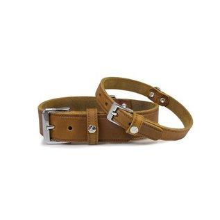 Das Lederband Leren halsband Weinheim 20mm Kastanje 52cm verstelbaar 42-48cm