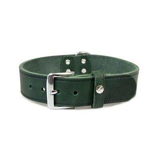 Das Lederband Leren halsband Weinheim 25mm Jachtgroen 47cm verstelbaar 37-42cm