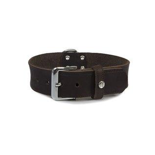 Das Lederband Leren halsband Weinheim 35mm Mocca 57cm verstelbaar 47-53cm