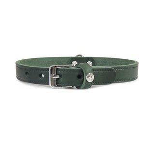 Das Lederband Leren Halsband Weinheim 12mm Jachtgroen 27cm verstelbaar 17-23cm