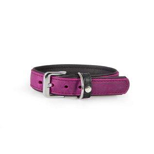 Das Lederband Leren Halsband Vancouver Paars/Zwart 25mm/40cm