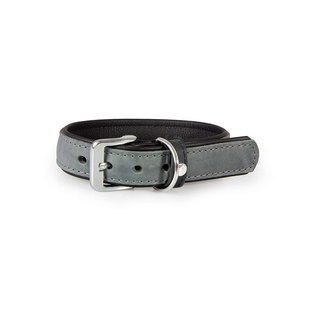 Das Lederband Lederhalsband Vancouver Granit / Schwarz 30mm / 50cm