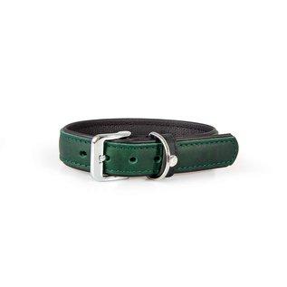 Das Lederband Lederhalsband Vancouver Hunting Green / Schwarz 35mm / 55cm