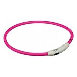 Trixie Flash Lichthalsband USB TPU/Nylon Roze 65cm
