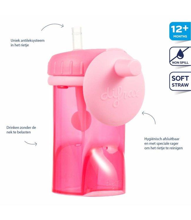 Difrax Difrax coupe en paille anti-empoisonnement 250 ml rose
