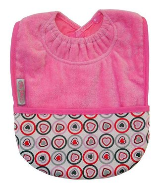 Silly Billyz Pink pocket bib hearts