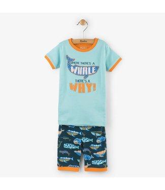 Hatley Hatley 2-delige korte pyjama Whale pod