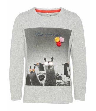 Name-it Name-it girls t-shirt LAMA Gray Melange
