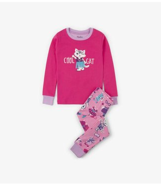 Hatley Hatley girls 2-piece pajamas Cool cat