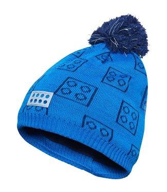Lego wear Legowear blauwe winter muts Lego blokjes