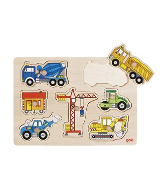 Goki Goki Steekpuzzel - Bouwwerfvoertuigen