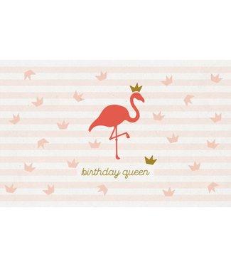 Leukekaartjes Greeting card - Birthday queen flamingo